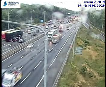 Slow traffic this morning on M25 anticlockwise from J21 M1 to J19 (Watford).