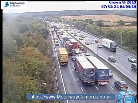 Queues on the M25 clockwise through j25. Credit: Highways England