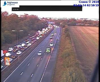 Traffic on the A1 (M) this morning (photo credit Highways England)