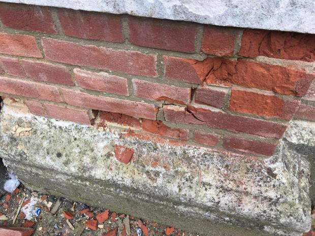 Tottenham Independent: Damage to one of the pillars at the grade II-listed gateway
