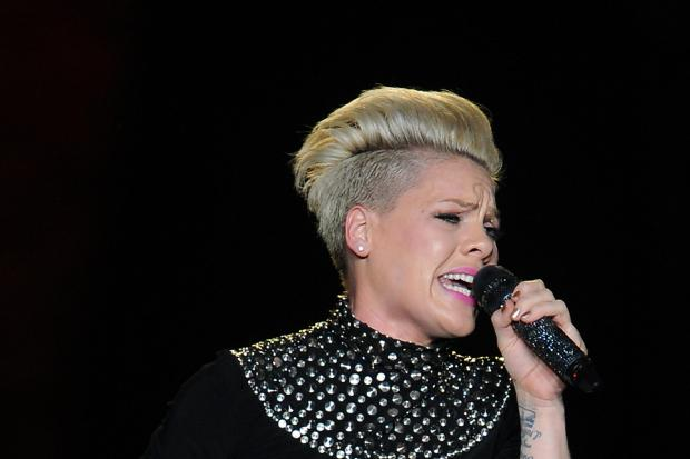 Pink performs on stage at the LG Arena, Birmingham