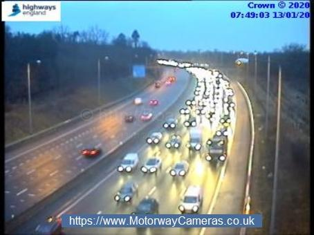 Queuing traffic on M25 anticlockwise at j19 for Watford. Photo: Highways England
