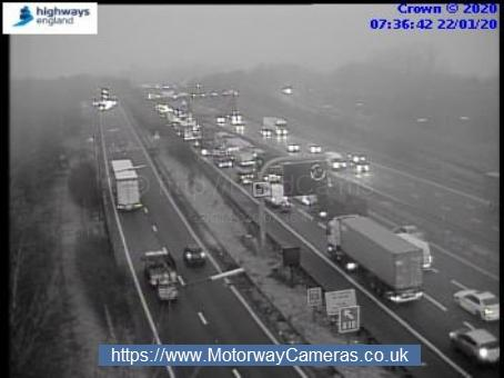 Slow traffic at j25 for Enfield on M25. Photo: Highways England