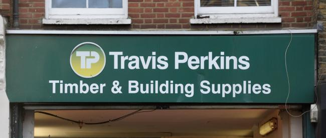 Travis Perkins signage in Pimlico, London. Credit: Kirsty O'Connor/PA Wire
