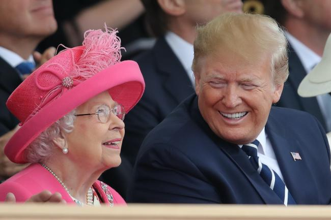 The Queen, pictured with US President Donald Trump