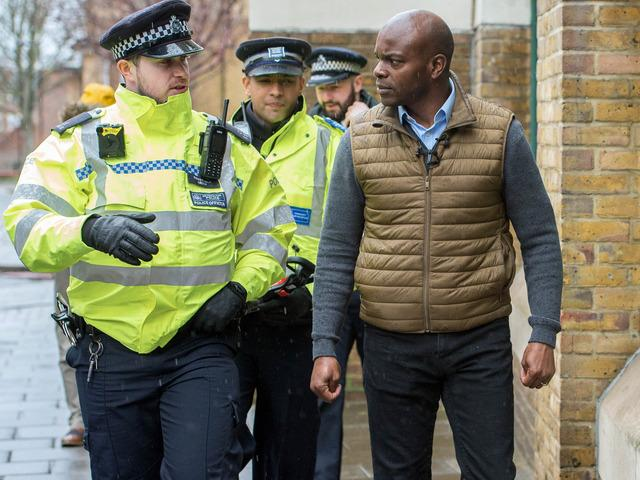 Shaun Bailey on a knife sweep with police in Stoke Newington, Hackney, in February (Photo: Pete Maclaine / i-Images).