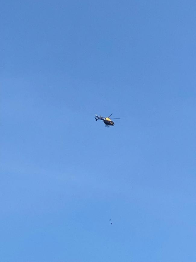 A police helicopter was spotted flying over Wood Green for over half an hour.