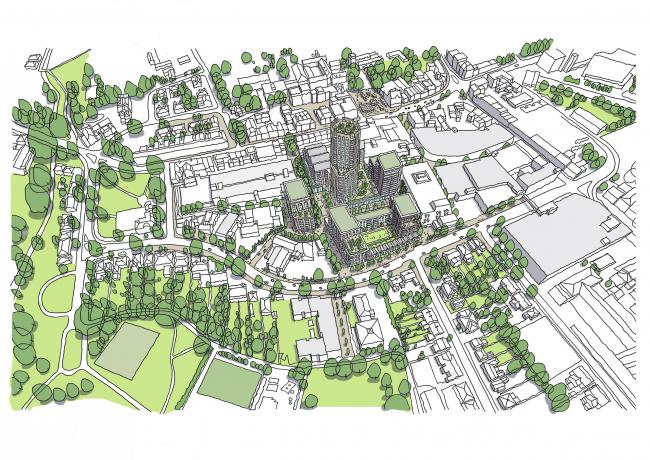 A sketch of the proposed development in Enfield Town (Image: EPR Architects)