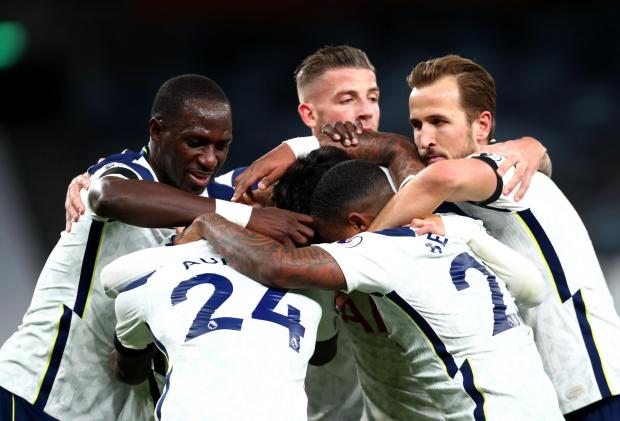 Tottenham Independent: Tottenham Hotspur players celebrate after teammate Giovani Lo Celso scores their side's second goal