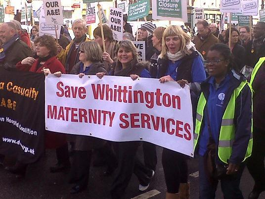 Campaigners at a march to save the Whittington's services earlier this year