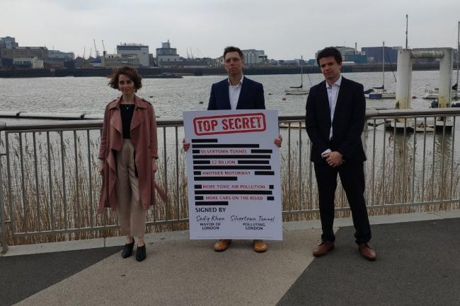 Luisa Porritt was joined by London Assembly candidates Rob Blackie (middle) and Chris Annous (right) near the proposed site of the Silvertown Tunnel today. Credit: Newsquest