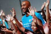 Colin Jackson with Hornsey School for Girls pupils