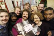 Furry faces: staff show off their Movember moustaches