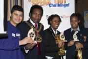 Competition winners Patrick Velastegui, Kimberly Thompson, and Kiterie Cassell  with Haringey mayor Councillor Eddie Griffith