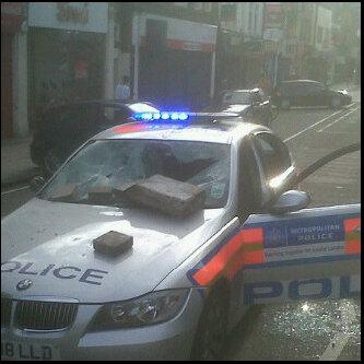 Police car trashed by Enfield Town rioters