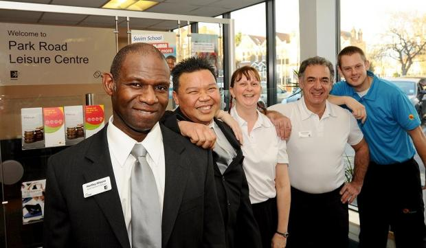 Staff at Park Road Leisure Centre show off their new Fusion uniforms. Centre manager Hartley Alleyne (left) with staff