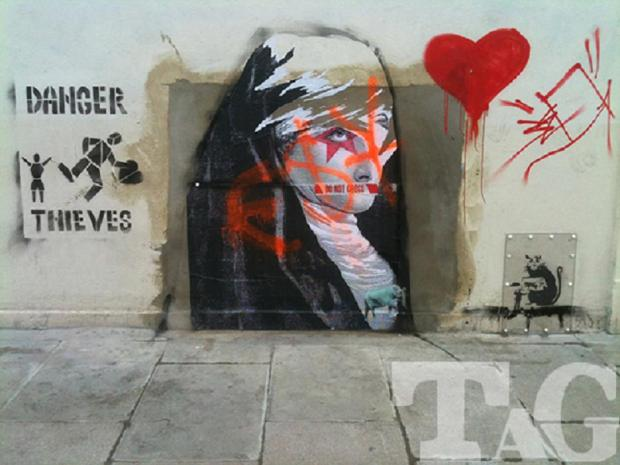 New artwork has appeared on the wall formerly home to the Banksy piece. Photo by Turkpike Art Group