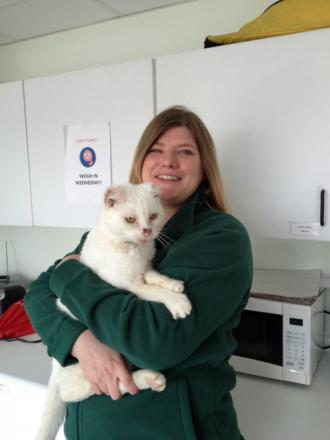 Kate Wickins and Igloo the cat at Wood Green Animal Shelter