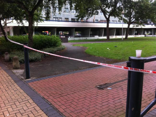 The scene where two men were shot following a community event in Broadwater Farm in Tottenham