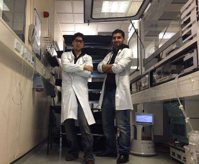 Leonardo Rios and Homam Bahrani have set up a prawn farm in Seaford Road, Haringey. Picture courtesy of the Department of Biochemical Engineering, University College London