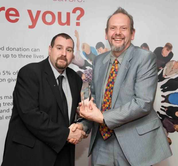Justin Tepper and Ed Sirett at the NHS Blood and Transplant awards in central London