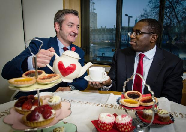 David Lammy MP takes tea with Robert Marsh to launch the Eve Appeal's Make Time for Tea 2014 campaign