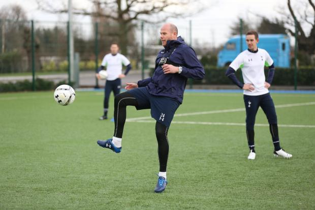 Brad Friedel proved he has lost none of his fitness or agility during a training session with journalists at Spurs' Enfield training complex
