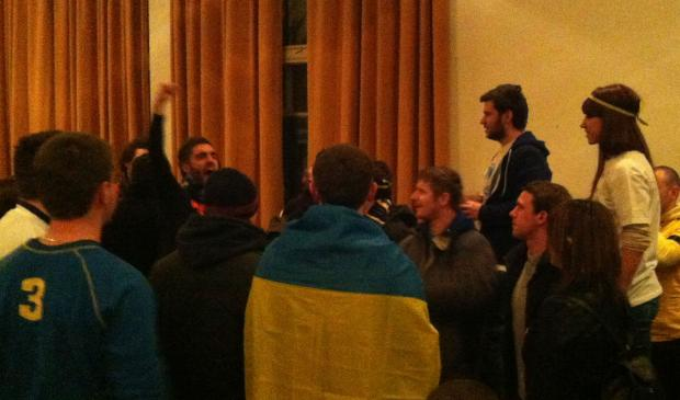 FC Dnipro fans gathered in the Haringey Irish centre prior to the peaceful demonstration