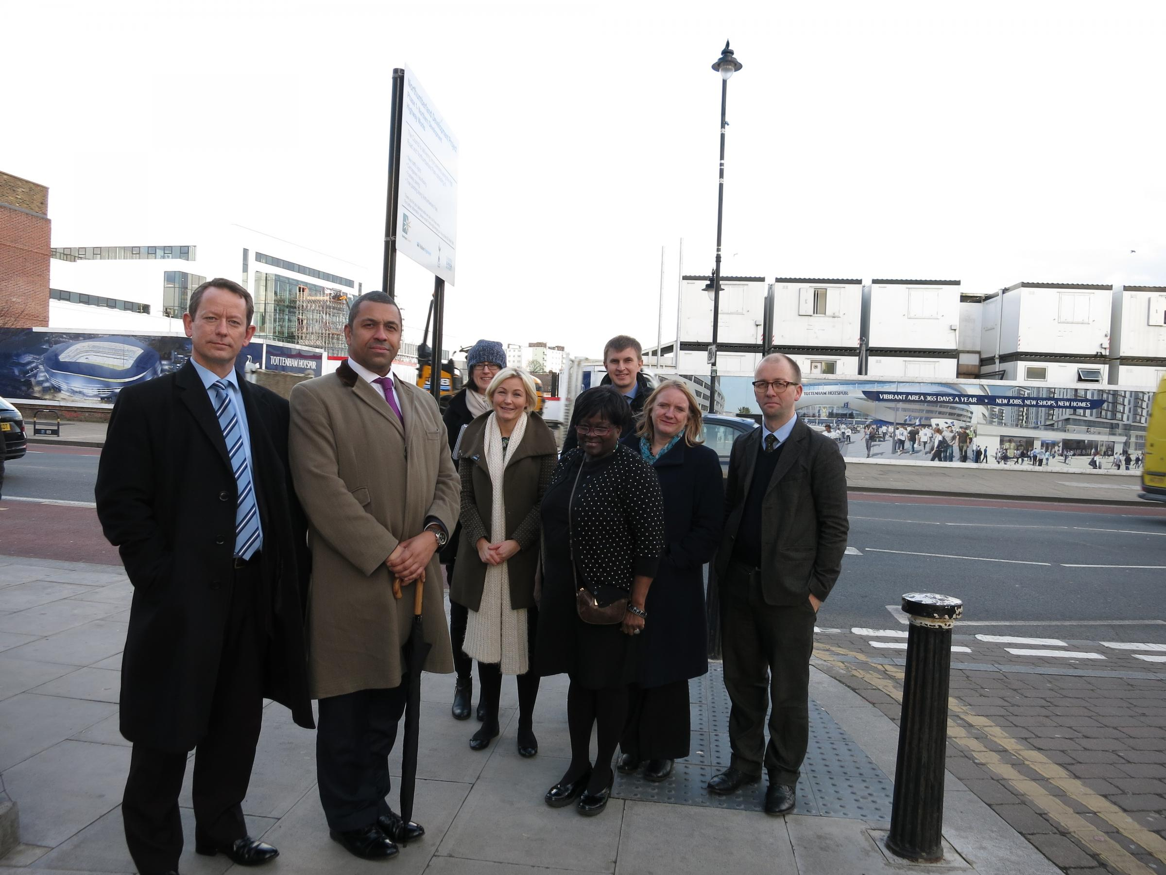 London Assembly members outside the site of Tottenham Hotspur's proposed new stadium