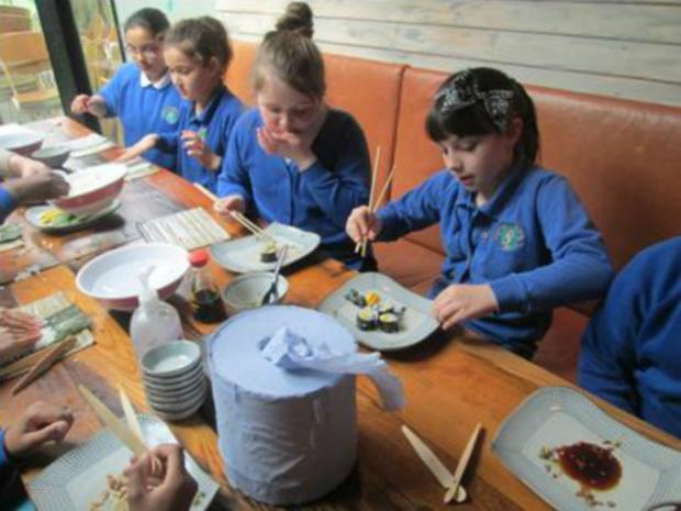 Pupils got stuck in after trying their hand at cooking at Tootoomoo in Crouch End