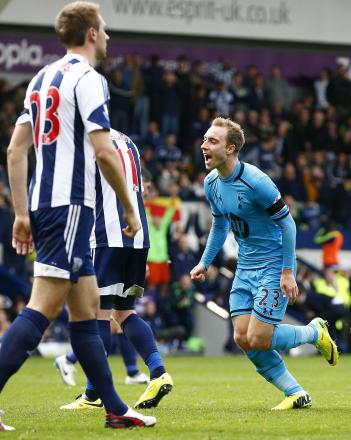 Christian Eriksen wheels away after his injury-time equaliser. Picture: Action Images