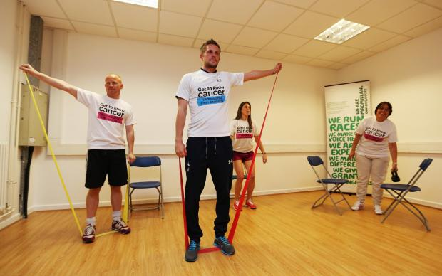 Spurs player Gylfi Sigurdsson at the launch of After Cancer Exercise programme (photo taken by Tottenham Hotspur)