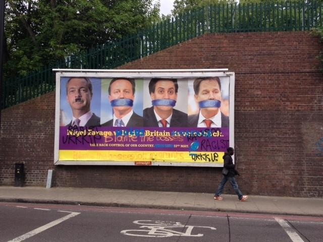 A UKIP poster near the railway bridge over Seven Sisters Road