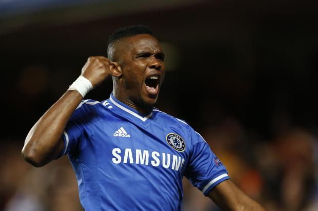 Samuel Eto'o celebrates scoring for Chelsea. Picture: Action Images