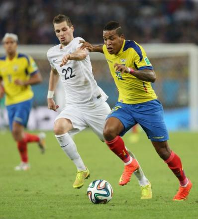 Morgan Schneiderlin (left) tracks Ecuador's Michael Arroyo (right). Picture: Action Images