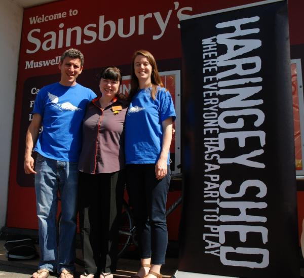 Haringey Shed and Sainsbury's Muswell Hill Staff: Eddie Latter, Catherine Ling (Sainsbury's), Ashling McGee