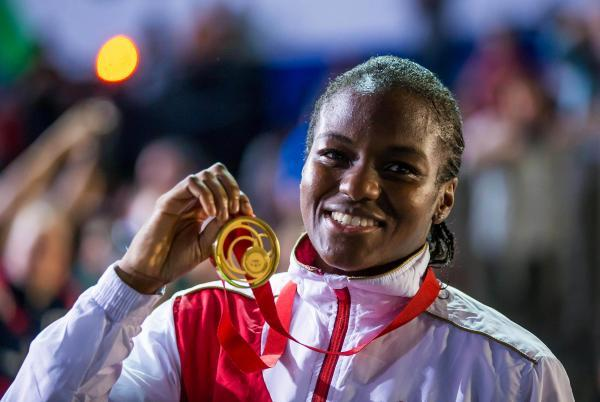 Nicola Adams celebrates her Commonwealth Gold medal: Action Images