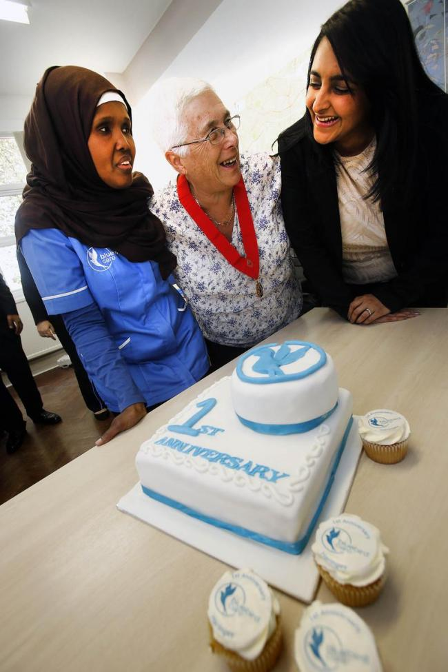 Kadra Ali, the first carer employed by Bluebird, with director Jyoti Kohli and Cllr Sheila Peacock