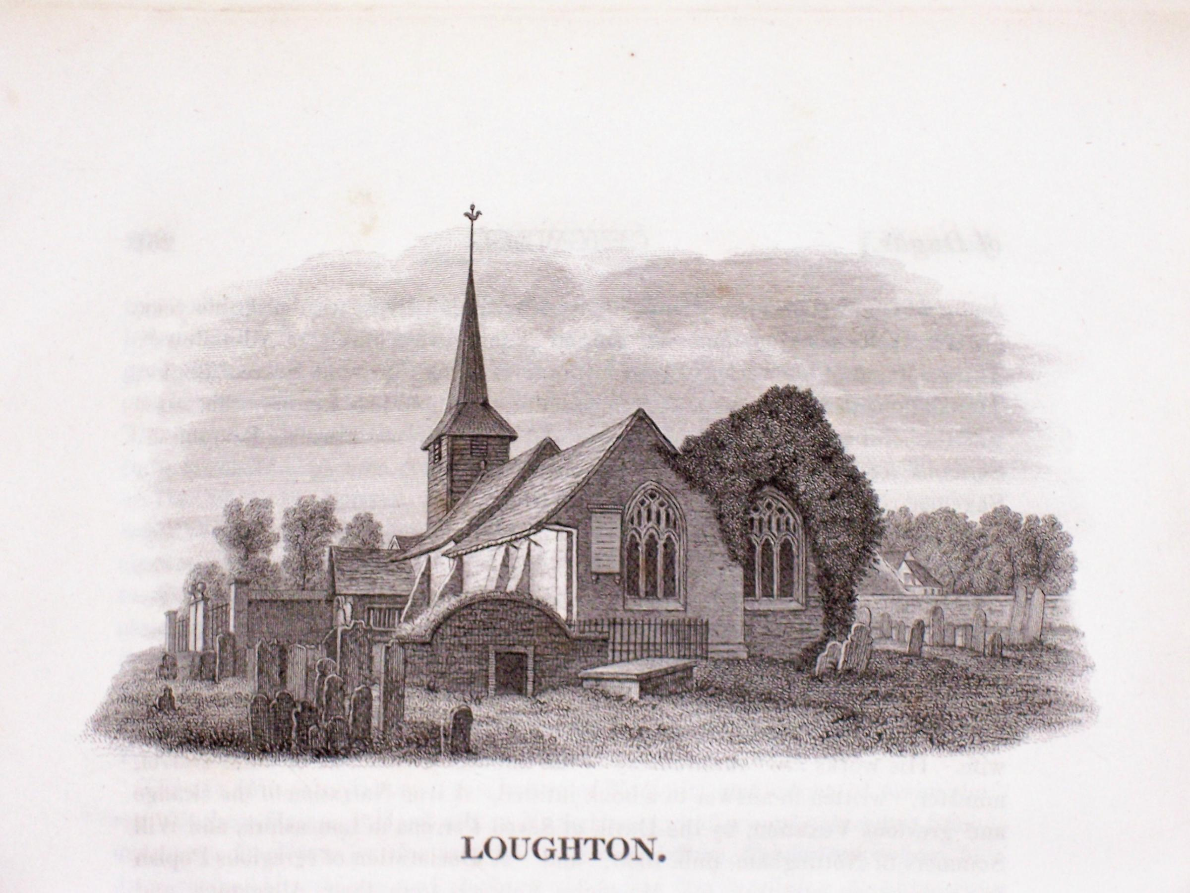 An engraving of St Nicholas' Church, Loughton's original parish church