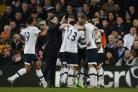 Mauricio Pochettino joins his players in celebrating Dele Alli's goal. Picture: Action Images