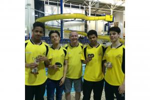 Haringey Aquatics members with their county medals.