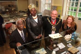 Remembrance: Haringey resident Claudius Fanusie, Akosua Bambara, Mayor  Alan Dobbie and museum curator Debbie Hedgecock launch the exhibition