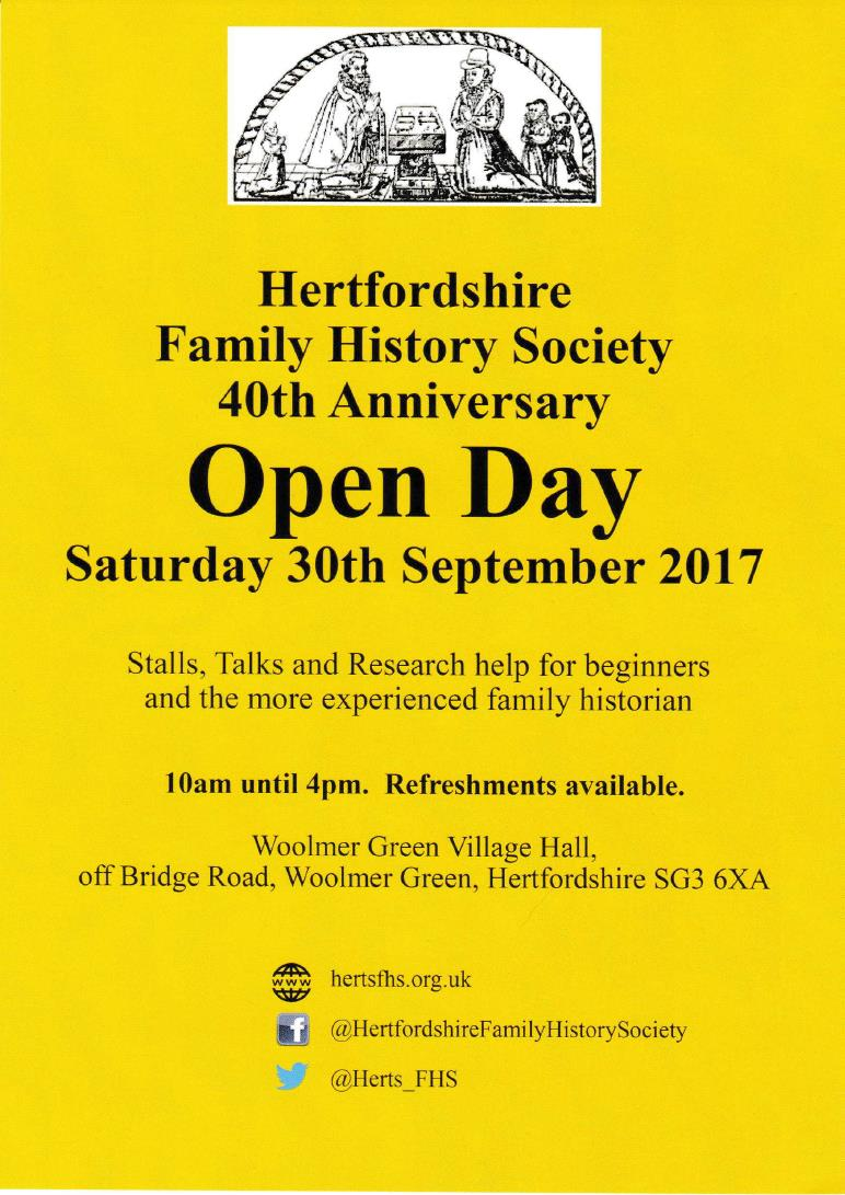 Hertfordshire Family History Society 40th Anniversary Open Day