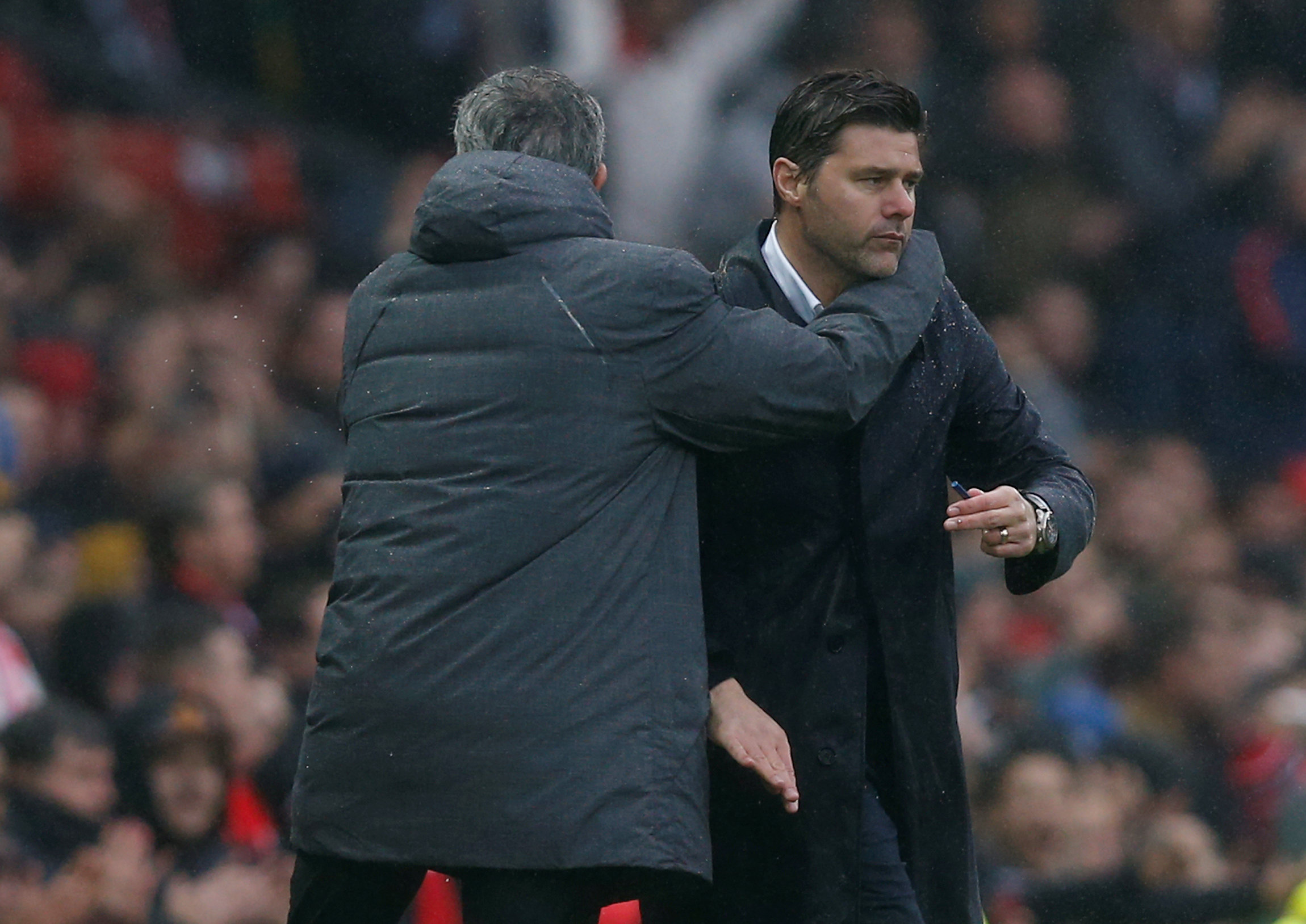 Jose Mourinho and Mauricio Pochettino at full-time. Picture: Action Images