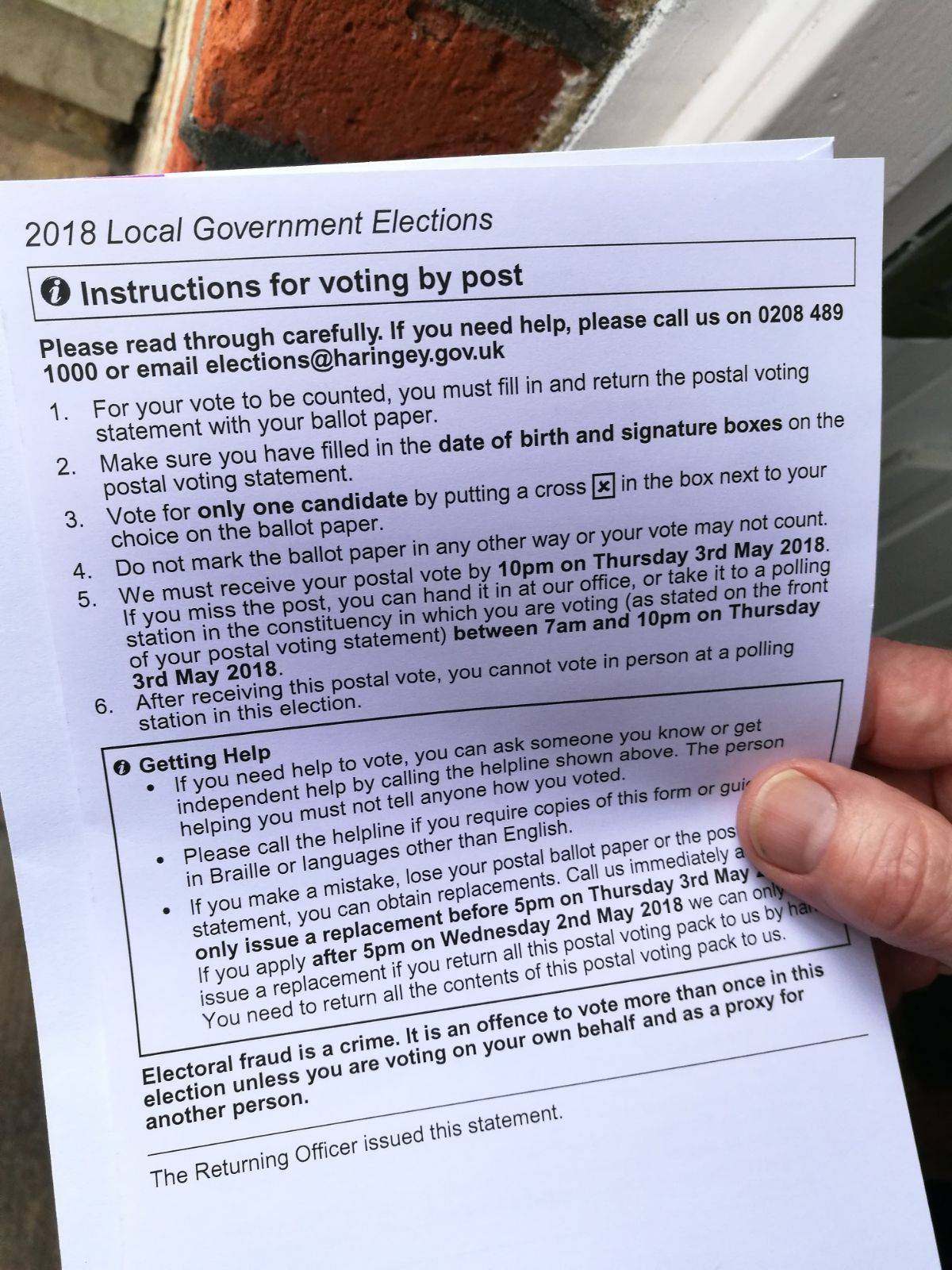 A copy of the incorrect voting instructions