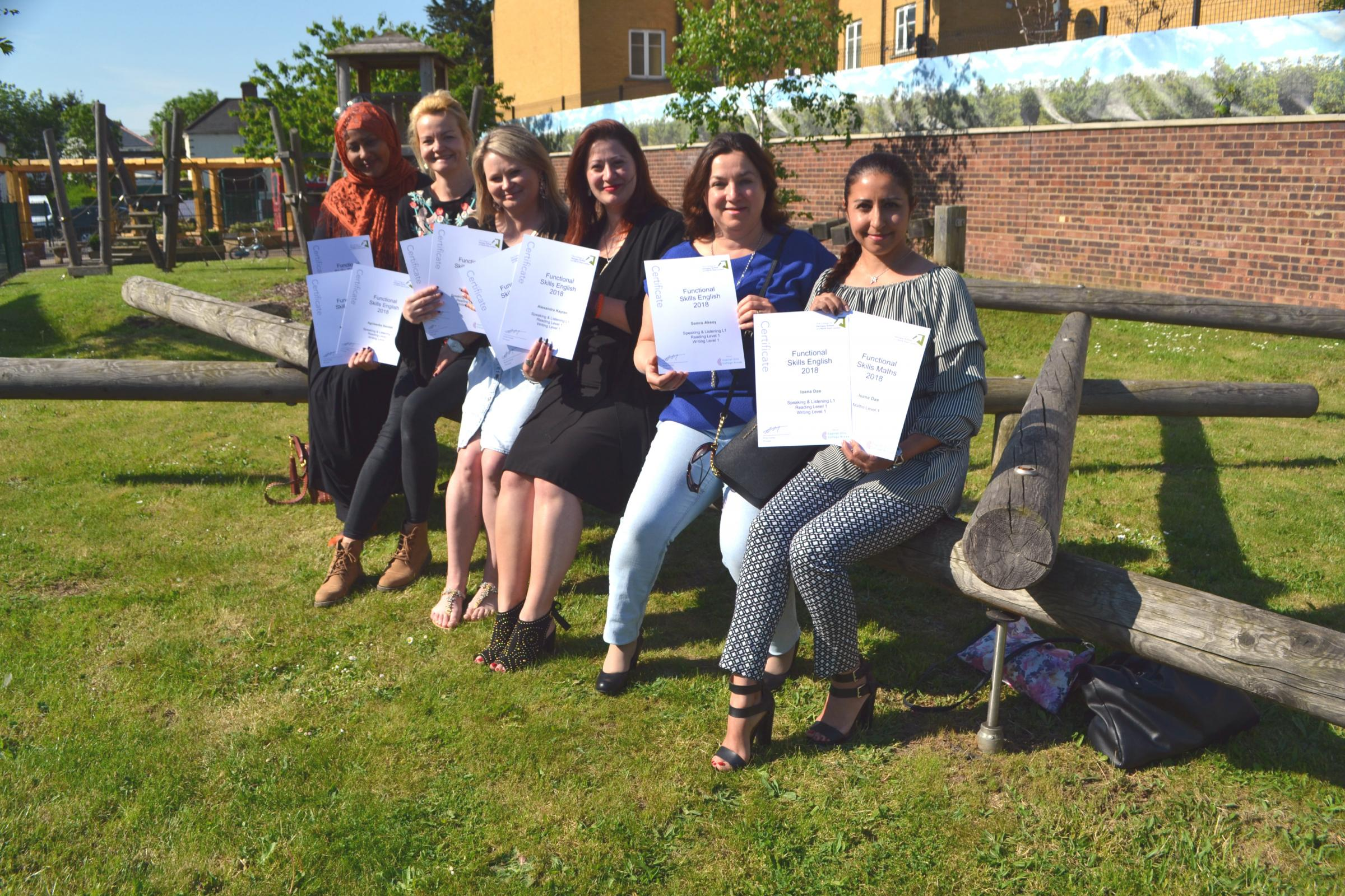 Mums presented with awards at their children's school