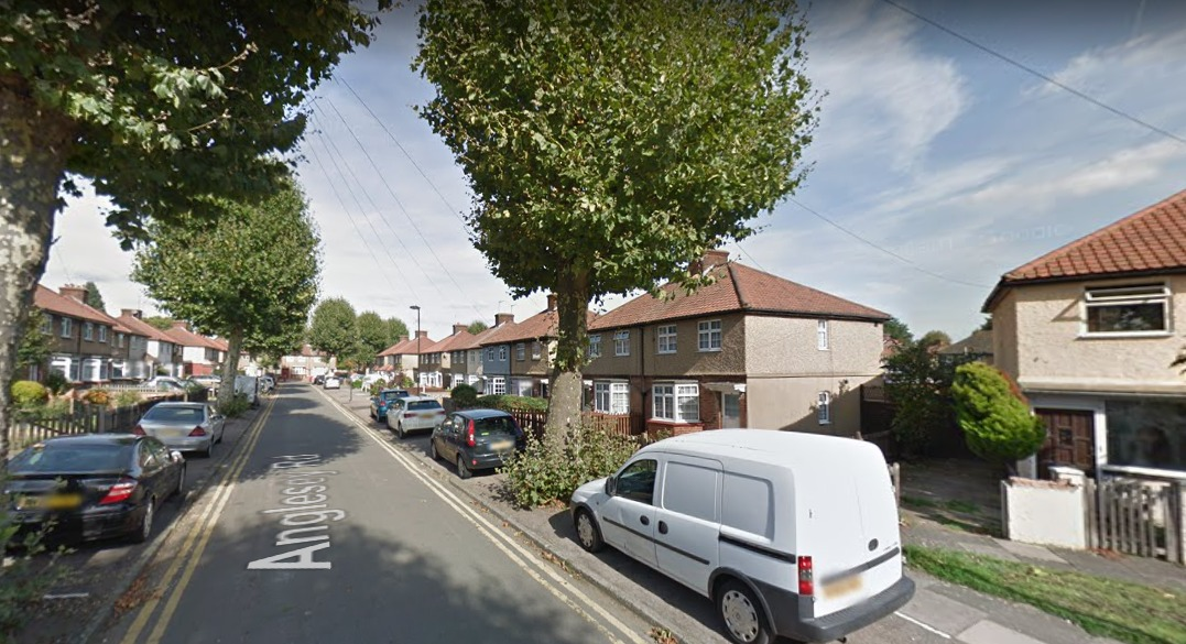 A fire broke out in the back garden of a property in Anglesey Street, Enfield, on Sunday. Photo: Google Maps.