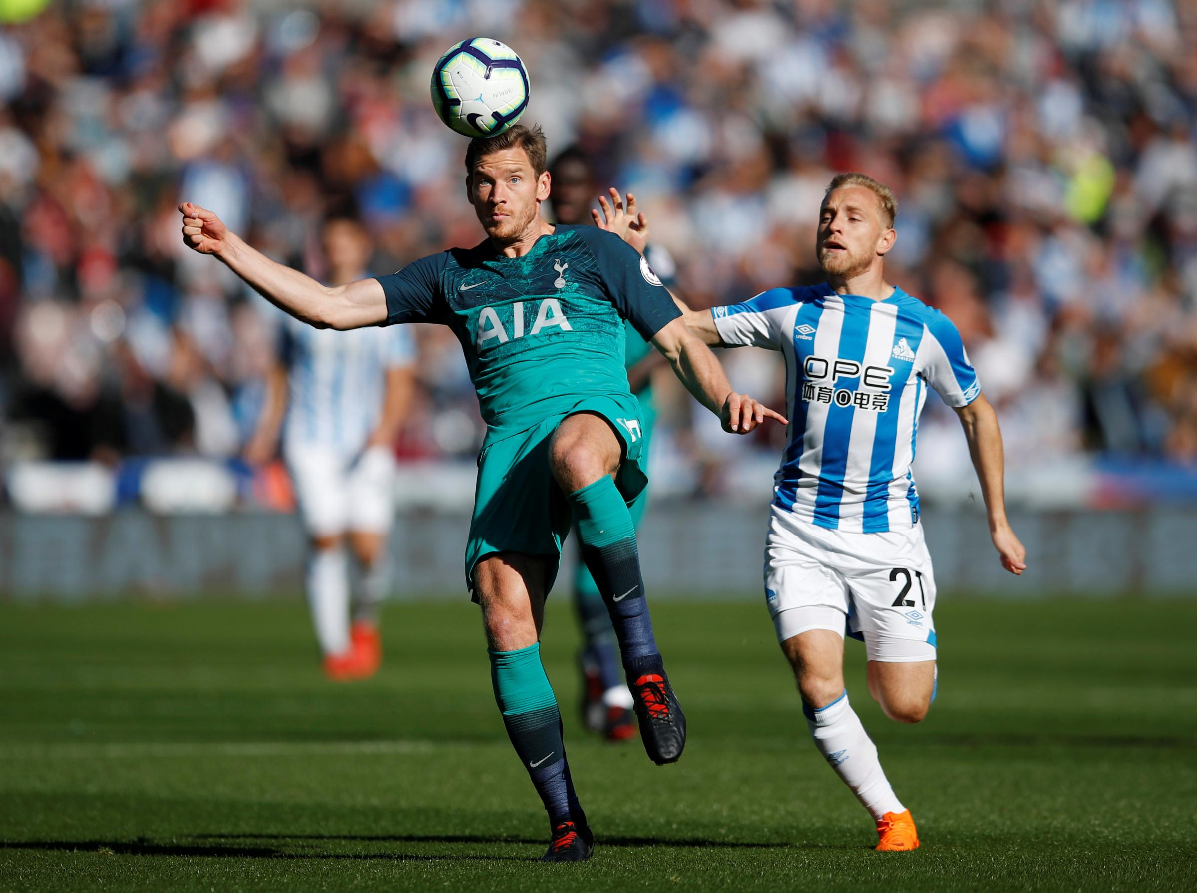 Jan Vertonghen sustained the injury in Saturday's win over Huddersfield. Picture: Action Images