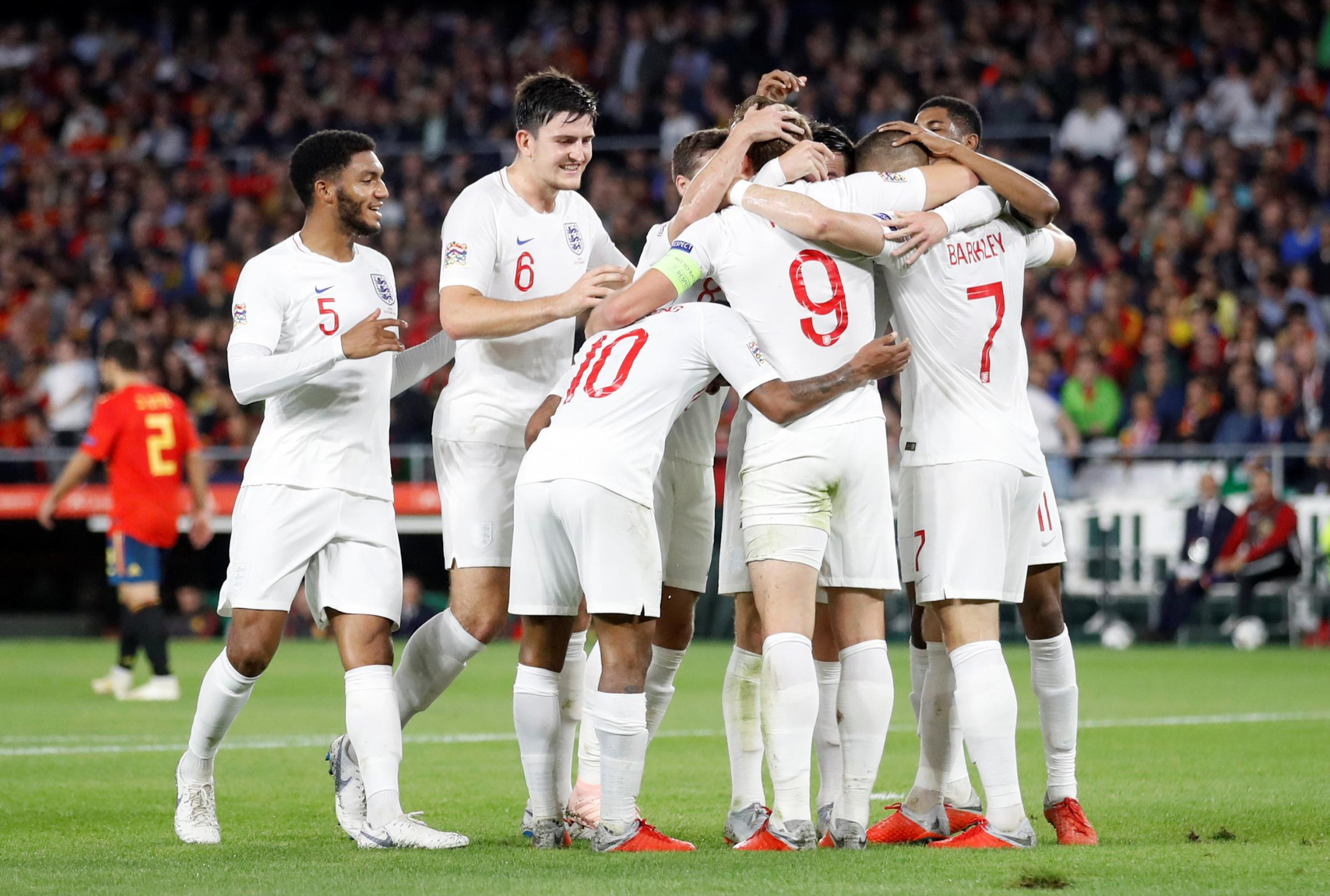 England celebrate Raheem Sterling putting Gareth Southgate's side 3-0 ahead. Picture: Action Images