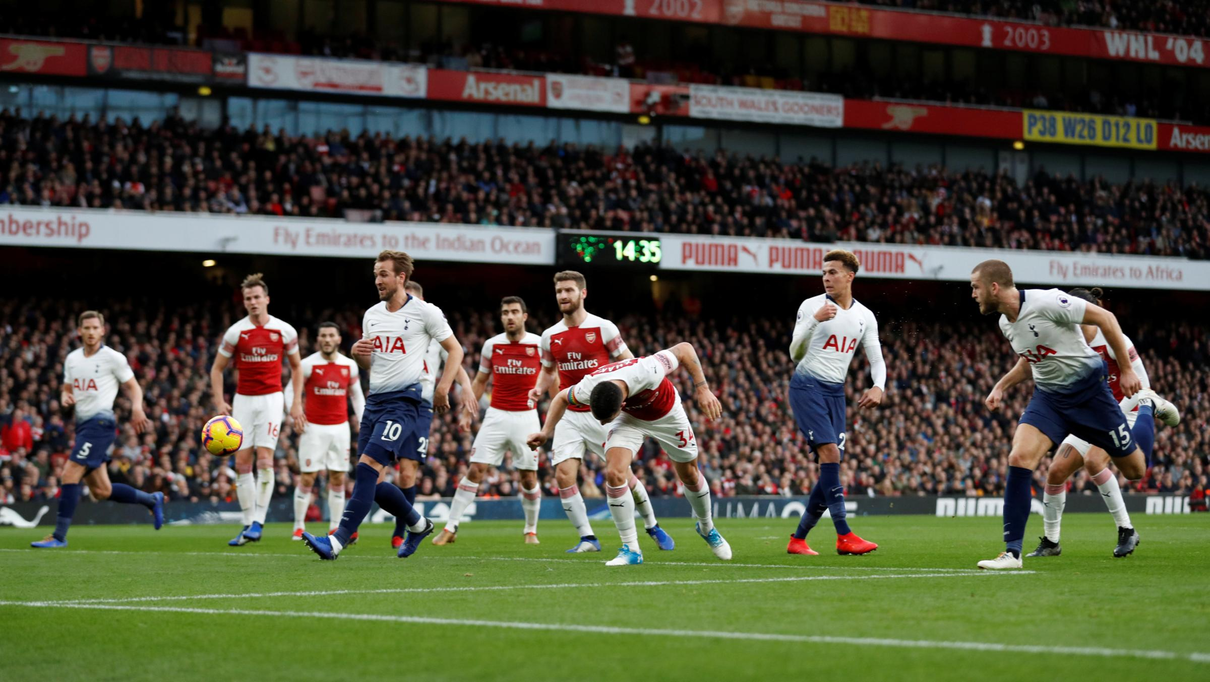 Eric Dier heads Spurs level in yesterday's north London derby. Picture: Action Images